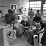 Cornell University Home Economics Students Learn the Characteristics of Commercial Washing Machines