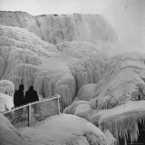 Frozen Niagara Falls  Trees  Park Grounds and Rocks Covered with Ice and Mist