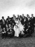 Sen John F Kennedy and His Bride Jacqueline Posing with 14 Ushers from Their Wedding Party