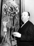 """Film Director Alfred Hitchcock  Standing Beside Salvador Dali's Painting """"Movies"""""""