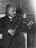 Physicist Albert Einstein Photographed by E O Hoppe Playing Violin