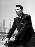 Portrait of Gregory Peck  Serious  Smoking a Cigarette