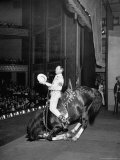 Gene Autry Astride His Famous Horse Champion on Bent Front Knees  Touching Head to Floor  on Stage