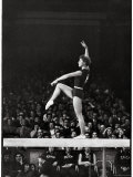 Russian Gymnast Larisa Latynina Competing on the High Beam in the Olympics