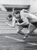 Soviet Athletes Boris Tokarev and Vladimir Suharev Practicing for the Russian Olympics