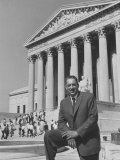 NAACP Lawyer Thurgood Marshall Posing in Front of the Us Supreme Court Building