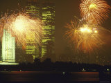 Fireworks for 4th of July Celebrations with Statue of Liberty and World Trade Center Towers