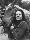 "Actress Elizabeth Taylor with Saddle Horse After Her Smash Movie Debut in ""National Velvet"""