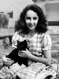 13 Year Old Actress Elizabeth Taylor Outside  Holding One of Her Many Pets  a Black Cat Named Jill