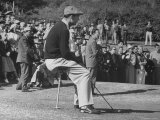 Golfer Ben Hogan  Resting on Portable Folding Seat During Los Angeles Open Golf Tournament