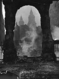 Spires of St Paul's Cathedral After German Air Raid Bomb Attack on the City