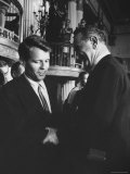 Robert F Kennedy Standing with Sen Lyndon B Johnson