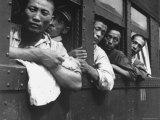 Discharged Japanese Soldiers Take Advantage of Free Transportation After WWII in Hiroshima  Japan