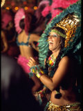 Dancer Amid Crowd of Samba Enthusiasts in Scanty  for Annual Rio Carnival Samba School Parade
