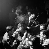 """American Soldiers Drinking Champagne and Listening to Violinist at Nightclub """"La Parisana"""""""