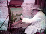British Statesman Winston Churchill Painting a View of the Sorgue River While on Vacation