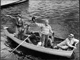 President Harry S Truman Standing in Rowboat  Fishing with Others