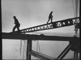 Steel Workers Above the Delaware River During Construction of the Delaware Memorial Bridge