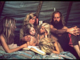 Tent Dwelling Hippie Family of Mystic Arts Commune Bray Family Reading Bedtime Stories