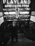 Chess Champion Bobby Fischer at the Entrance to a Playland Arcade