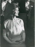 First Lady Jacqueline Kennedy Sitting Regally in Presidential During JFK's Inaugural Ball