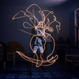 Pablo Picasso Drawing an Image Using a Light Pen