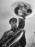Midget Czech Showman Baron Richard Nowak  Blowing on a Trumpet