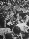 """Suzy Creech with Friend Wilma  Typical Girls Known as """"Pigtailers"""" Eating Lunch in Cafeteria"""