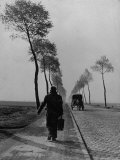 Displaced Person Returning Home from German Prison Camp  Walking Down Country Road