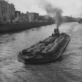 """Barge """"Castlenock""""  the """"Guinness Navy""""  Sailing Down River Liffey with Hogsheads of Guinness Stout"""