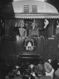 British Prime Minister Winston Churchill  Giving V Sign While President Harry S Truman Waves Hat