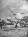 Aeronautical Engineer Igor Sikorsky Standing Underneath Helicopter He Invented