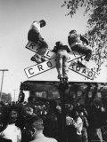 Kids Hanging on Crossbars of Railroad Crossing Signal to See and Hear Richard M Nixon Speak