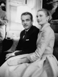 Prince Rainier III with Actress Grace Kelly at the Announcement of Their Engagement
