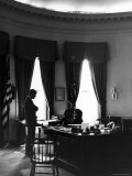 President John F Kennedy with Brother  Attorney General Robert Kennedy in White House Office