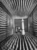 Radar Echoes Absorbed in Anechoic Chamber So Engineers Can Bounce Echoless Beams Off a Icbm Model