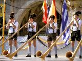 Men Playing Alphorn  Munich  Germany