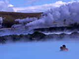 Couple in Blue Lagoon Hot Spring Bathing Pool  Reykjavik  Iceland