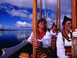 Church-Goers Raising Oars in Salute En Route to Church  Rattvik  Sweden