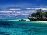 Expedition Ship Nearing Island  Seychelles