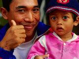 Father and Daughter at Pasar Badung  Denpasar  Indonesia