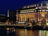 Fullerton Hotel at Night  Singapore  Singapore