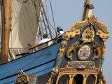Carved Stern of Tall Ship the Kalmar Nyckel  Chesapeake Bay  Maryland  USA