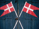 Danish Flags Painted on Doors of Life-Saving Station  Sonderho  Denmark