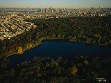 Aerial of Prospect Park with the Manhattan Skyline in the Distance