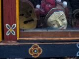 Ceremonial Mask in Shop Window  Paro  Bhutan