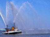 A Fireboat on the Mighty Mississippi River  Louisiana  USA