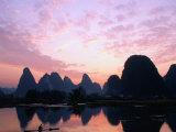 Mountains on the Li River at Sunrise  Yangshuo  China