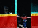 Girl Standing in Market Doorway  Santa Maria De Jesus  Guatemala