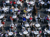 Overhead of People Relaxing in Outdoor Cafe  Old Town Square  Prague  Czech Republic